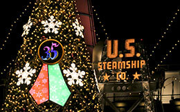 TDS「ディズニー・クリスマス2018」夜景(エントランス〜ウォーターフロントパーク)を紹介