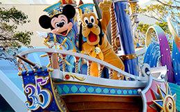 ミッキーとプルートが乗っているフロートの停止位置で撮影した「ドリーミング・アップ!」スペシャルバージョン紹介