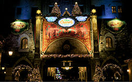 東京ディズニーシーのクリスマス夜景を紹介(ミラコスタ通り〜アメリカンウォーターフロント)